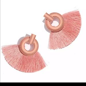 Boutique Jewelry - Boho Fringe Coral Pink statement earrings